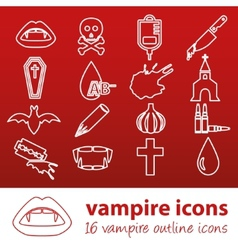 Vampire outline icons vector