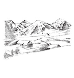 Mountain isolated on the white vector