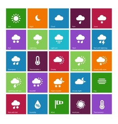 Weather icons on color background vector