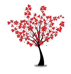 Valentine tree flower shaped of heart vector