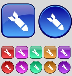 Missilerocket weapon icon sign a set of twelve vector