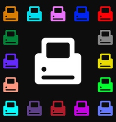 Printing icon sign lots of colorful symbols for vector