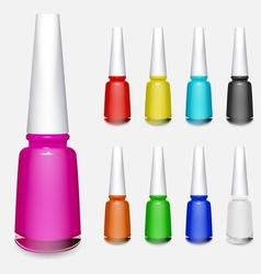 Set of multicolored bottles of nail polish vector