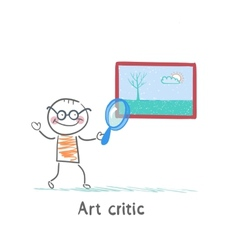 Art critic looks at the picture of a magnifying vector