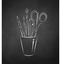 Artistic tools in holder vector