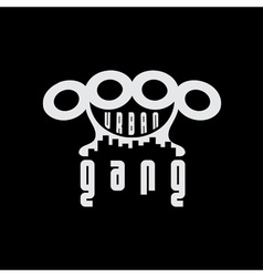 Urban gang emblem with brass knuckles vector