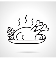 Black line icon for baked chicken vector