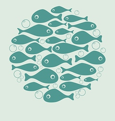 Cute blue fish circle design for card or poster vector