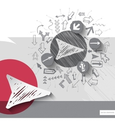 Paper and graphic arrows with icons background vector