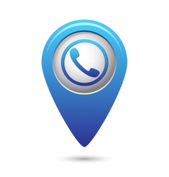 Map pointer with phone handset icon vector