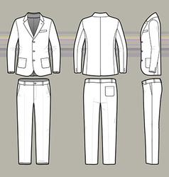 Simple outline drawing of a blazer and pants vector