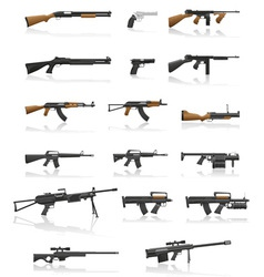 Weapon and gun set collection icons 01 vector