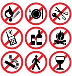 Prohibitory signs vector