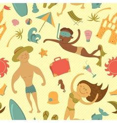 Cartoon beach seamless pattern vector