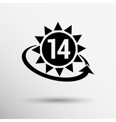 Clock hour sign graphic 14 number time date white vector