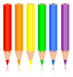Set of colored pencil a rainbow pencil near vector