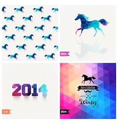 Set of four new year symbols blue horse retro vector