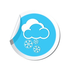 Weather forecast clouds with snowflakes icon vector