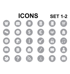 Black and white round icons vector