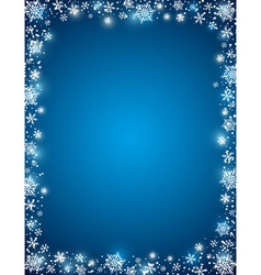 Blue background with frame of snowflakes vector