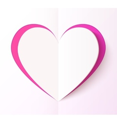 Empty folded paper style pink heart vector