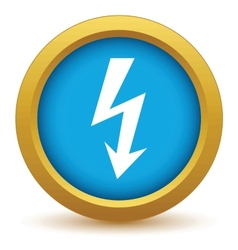 Gold lightning icon vector