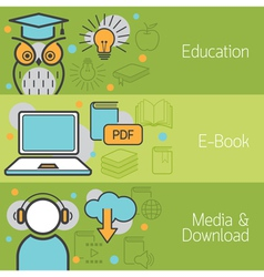 Education e-book media banner vector