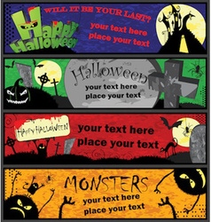 Halloween banners in different colors vector