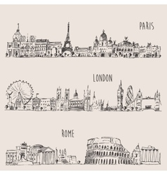 City set london paris rome engraved vector