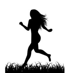Silhouette of running woman vector