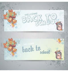 Set with two horizontal banners with a school vector