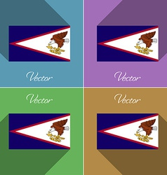 Flags american samoa set of colors flat design and vector