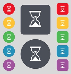 Hourglass sand timer icon sign a set of 12 colored vector