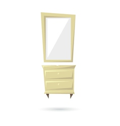 Commode and mirror isolated on a white backgrounds vector