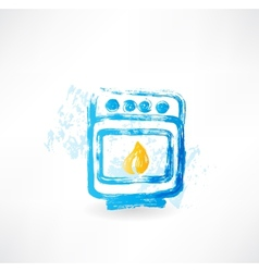 Oven fire grunge icon vector
