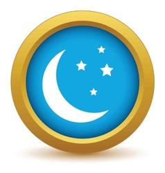 Gold moon icon vector