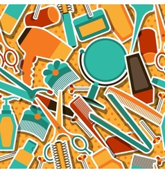 Hairdressing tools seamless pattern in retro style vector