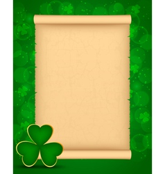 St patricks day background with parchment vector