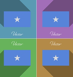 Flags somalia set of colors flat design and long vector