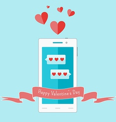 White smartphone with love sms and ribbon vector