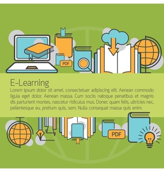 E-learning linear icons layout background vector