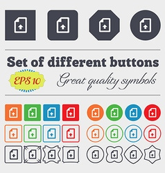 Export upload file icon sign big set of colorful vector