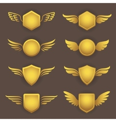 Heraldic shapes with wings vector