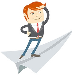 Office man flying on paper plane vector