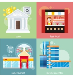 Business center supermarket bank fast food vector