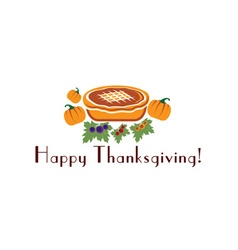 Happy thanksgiving with pie and pumpkins vector