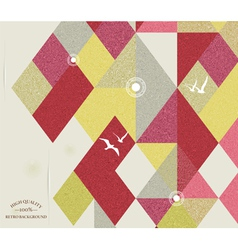 Retro geometric background with birds vector