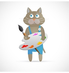 Cartoon cat as artist with palette vector