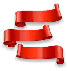 Realistic red glossy ribbons set vector