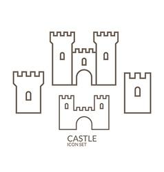 Castle icon set outline vector